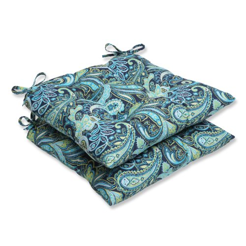 Pillow Perfect Outdoor Pretty Paisley Wrought Iron Seat Cushion, Navy, Set of 2