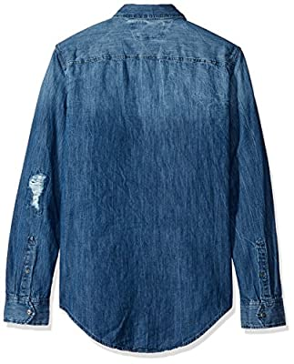 Calvin Klein Jeans Men's Ripped Denim Button Down Shirt