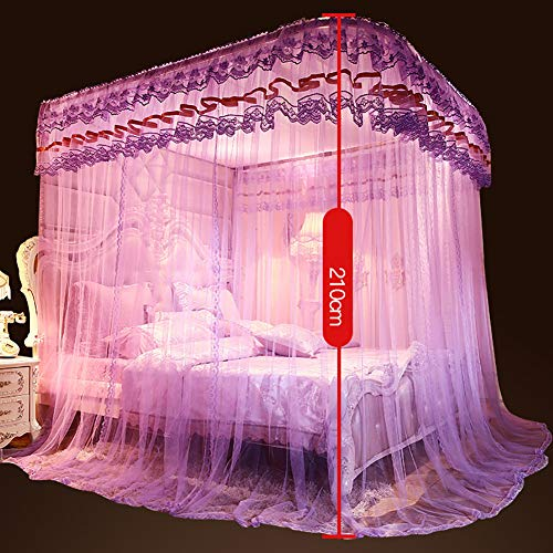 360° Fly Insect Mosquito Net Bed Canopy Lace Edge Polyester U-Rail Protection Net Tent Indoor Decorative,Jadecolor,180200CM by LINLIN MOSQUITO NET (Image #3)
