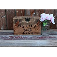 Wedding Card Box Chest Shabby Chic Espresso Color Engraved Personalized Front Holds Wedding cards with Slit and Lock