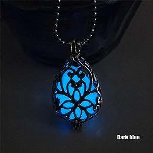 Bangood Fashion Teardrop Pendant Hollow Locket Necklace Glow In The Dark Jewelry Ligth blue