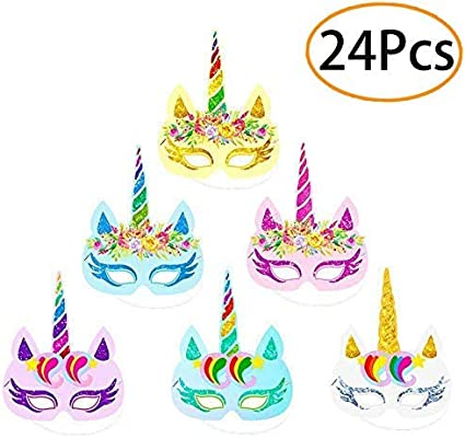 12pcs//Package Birthday Unicorn Mask Paper Photo Props Christmas Party Decor