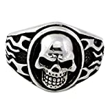 CloseoutWarehouse Sterling Silver 925 Flaming Medallion Skull Ring Size 11