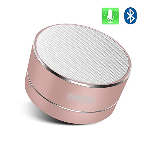 UNITEK Aluminium Wireless Stereo Portable Bluetooth Speaker with Handsfree Speakerphone Built-in Micro SD TF card slot, Rose Gold