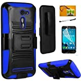 Asus Zenfone 2E (AT & T), LF 4 in 1 Bundle, Hybrid Armor Stand Case with Holster and Locking Belt Clip, Stylus Pen, Screen Protector & Wiper Accessory. (Holster Blue)