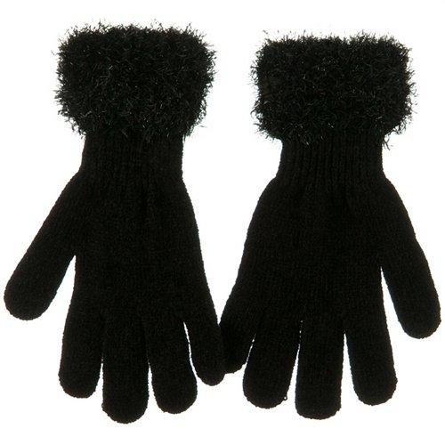 Lurex Magic Cuff Glove-Black Ladies Sparkle Cuff Glove