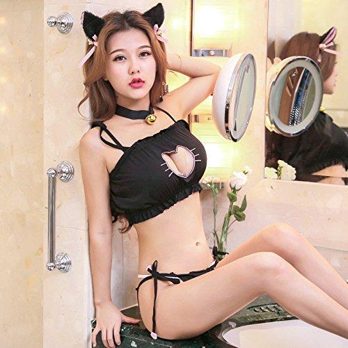 Deceny CB Moe Moe Nyanko cosplay MuneAki sexy costume 4piece set (L Black)