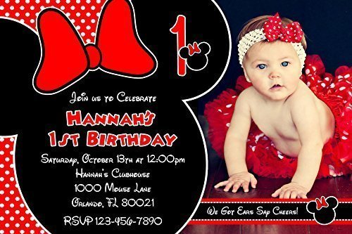 Minnie Mouse Birthday Party Photo Invitations, Red and Black, Printed Personalized (Minnie Mouse Photo Birthday Invitations)