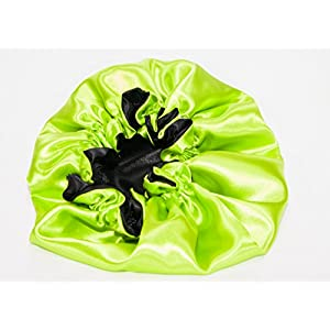 XX- Jumbo, APPLE GREEN Reversible -High Quality Luxuries Pure Satin Hair Bonnet for Women, Men, Kids & Teens Used for Dry, Damaged, Colored Safe For All Hair Types - Anti Aging Hair Care