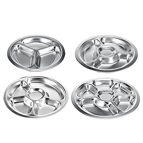 stainless steel divided dinner plate 3 sections mess trays great for camping kids lunch and. Black Bedroom Furniture Sets. Home Design Ideas