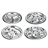 Stainless Steel Round Divided Dinner Plate BPA Free Kids Plates Serving Tray Food Platter for Kids and Toddlers, 3 sections