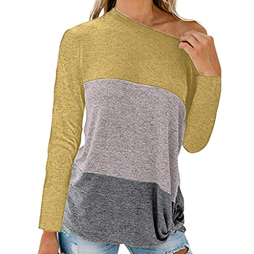 Round Neck Triple Color Block Stripe T-Shirt,Londony Women's Blouse Short/Long Sleeve Casual Tee Shirts Tunic -