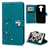 Image of LG V10 Case - Mavis's Diary 3D Handmade Wallet Fashion Embossed Floral Bling Butterfly Crystal Diamonds PU Leather Magnetic Flip Case with Hand Strap Soft TPU Inner Cover ID/Credit Card Holders - Blue