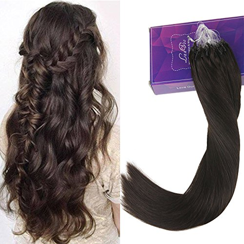 LaaVoo 20inch Seamless Micro Loop in Solid Color Darkest Brown Human Hair Extensions Cold Fusion Micro Link Beads Salon Style Human Hair 45g+5g for free for Full Head 1g/s