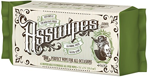 - ASSWIPES Flushable Cleaning Hygiene Wipes with Aloe and Vitamin E! Made for Bathroom, Body, Baby, Feet and Face! Alcohol, Paraben, and Fragrance FREE for Sensitive Skin! (1 Pack)