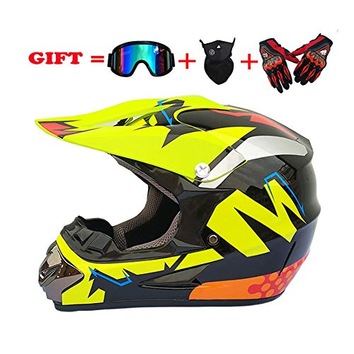 MIRC Motocross Helmet Four Seasons Men and Women Bicycle Helmet,Yellow,M