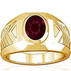 18K Yellow Gold Oval Cut Ruby Men's Ring