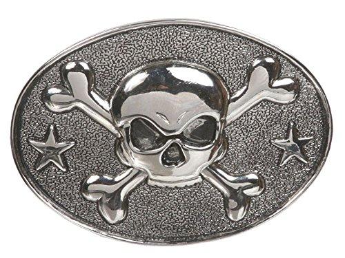 (Western Oval Skull & Cross Bone Belt Buckle Color: Pewter)