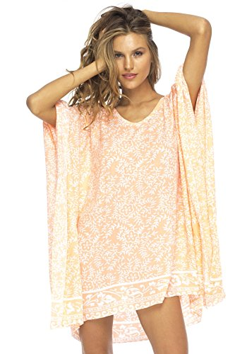Back From Bali Womens Beach Swimsuit Cover up Dress Caftan Floral Short Poncho Bun Coral