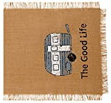 36 in. The Good Life (Camper) Burlap Table Runner (13-in x 36-in)