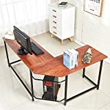 EGNM L Shaped Home Office Corner Computer Desk with CPU Stand PC Table Workstation Wood & Metal (Wood)-by