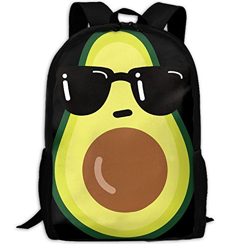 Cartoon Funny Avocado Icon With Sunglasses Interest Print Custom Unique Casual Backpack School Bag Travel Daypack Gift