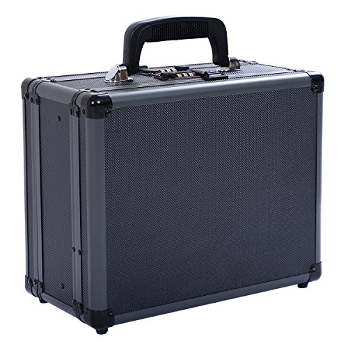 Goplus Double Locking Handgun Box Gun Case Pistol Hard Carry Foam Storage w/ Code Set (Double Set Pistol)