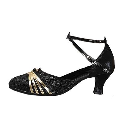 IOSHAPO Zapatos de Baile Latino de tacón Medio para Mujeres