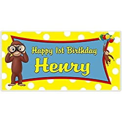 Curious George Birthday Banner Custom Party Backdrop Decoration