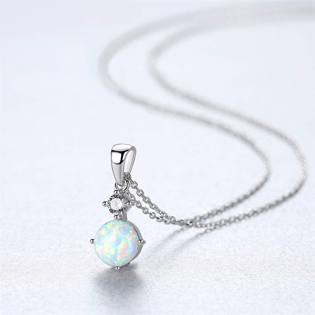 Exquisite Sterling Silver 925 Round Opal Pendant Necklace For Women Cut Silver Chain Pendant Necklaces Fashion Jewellery White 45cm