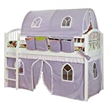 Bolton Furniture AJLA01WHL Junior Loft Bed with White/Lilac Top Tent and Bottom Curtain Playhouse, White
