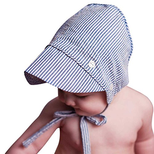 Huggalugs Baby and Toddler Boys Navy Boys Seersucker Bonnet 6-12 Months