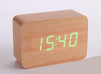 xin603 Reloj Despertador pequeño Reloj Creativo de Madera Reloj de Control Digital Reloj Despertador pequeño Reloj de Madera LED Retro, luz Verde de bambú: ...
