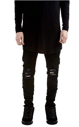 11f1bfab147b5 Battercake Jean Slim pour Homme Stretch Déchiré Noir Coupe Slim Jean Skinny  Confortable Pantalon Loisirs Jean