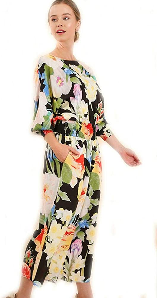 Umgee Floral Print Wide Leg Jumpsuit with Smocked Waist and Wrists Back Keyhole and Pockets