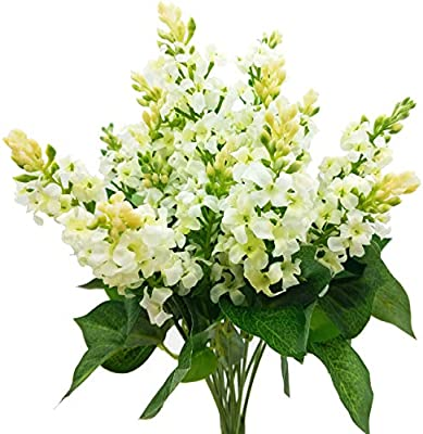 Artificial Fake Flowers Silk Plastic Plant Arrangement For Home Indoor Outdoor Garden Wedding Table Vase Decorations Faux Snapdragon Flower 3 Bouquets White Amazon Sg Home