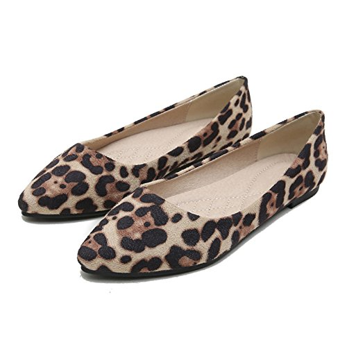 MAIERNISI JESSI Women's Casual Leopard Print Pointed Toe Ballet Flat Shoes Khaki 39 - US 8 (Suede Print Flats)