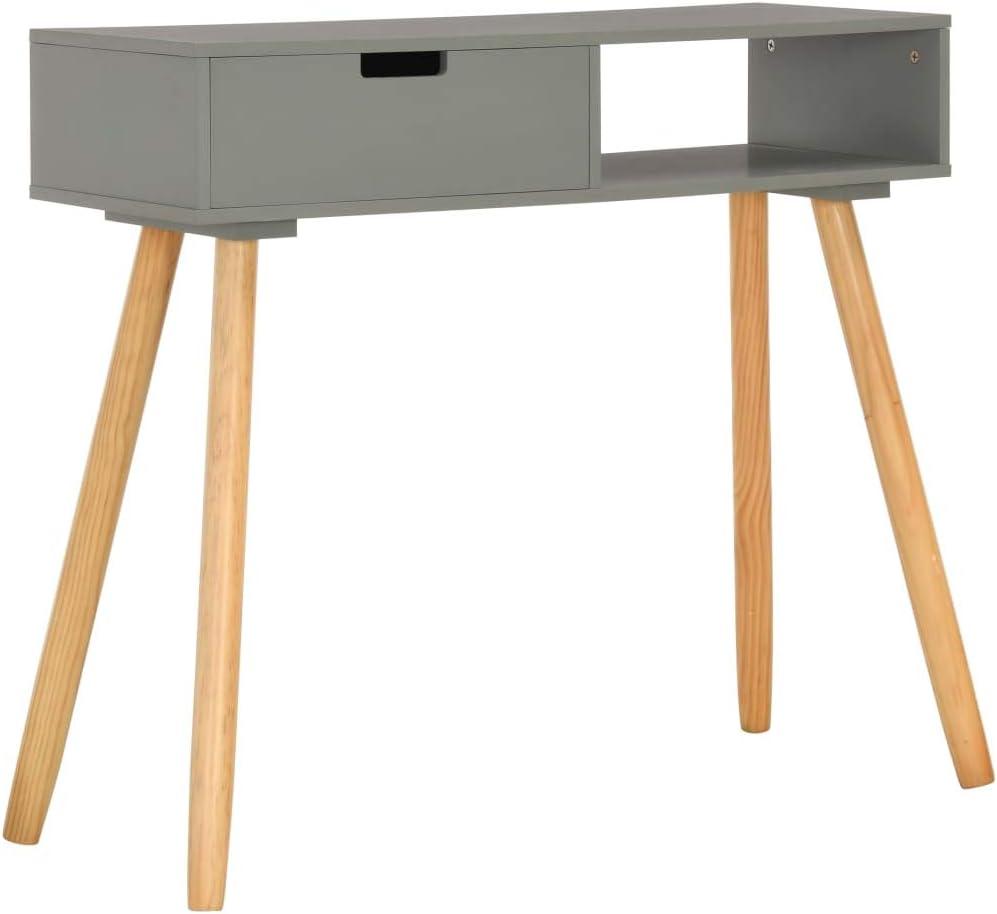 Tavolo consolle con gambe in legno di pino 80 x 30 x 72 cm bianco EBTOOLS