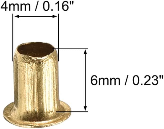 Durchgangsloch Kupfer Hohlnieten /Ösen Leiterplatte PCB 2,5mmx5mm Golden sourcing map 200 Stk
