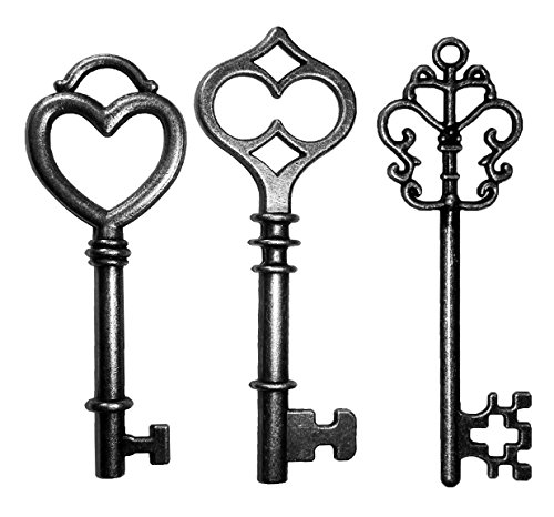 (Mixed 30PCS Key Set, Antique Skeleton Keys, Vintage Steam Punk Keys, Castle Dungeon Pirate Keys for Birthday Party Favors, Mini Treasure Toy Gifts, Medieval Middle Ages Theme, Juliet (Black))