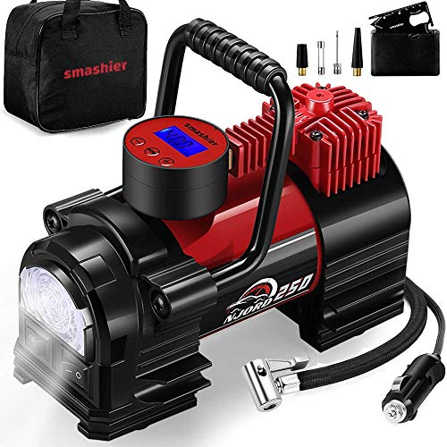 Smashier Portable Air Compressor Tire Inflator – 12V DC Heavy Duty Digital Pump with 9 LED Light for Car/Motorcycle/Air…