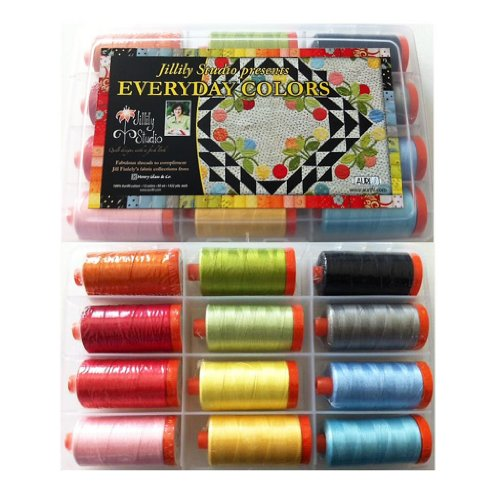 Aurifil Thread Set EVERYDAY COLORS by Jill Finley 50wt Cotton 12 Large Spools 1300M (1422 yd) each by Aurifil