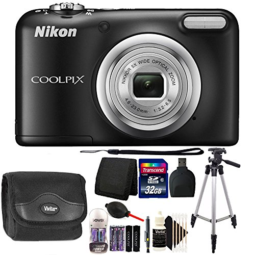 Nikon COOLPIX A10 16.1 MP Compact Digital Camera (Black) with 32GB Top Winter Accessory Kit