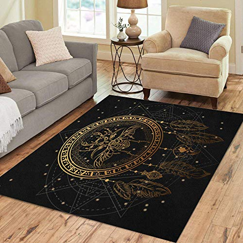 Semtomn Area Rug 3' X 5' Gold Dreamcatcher The Bug and Feathers Night Sky Stars Home Decor Collection Floor Rugs Carpet for Living Room Bedroom Dining Room
