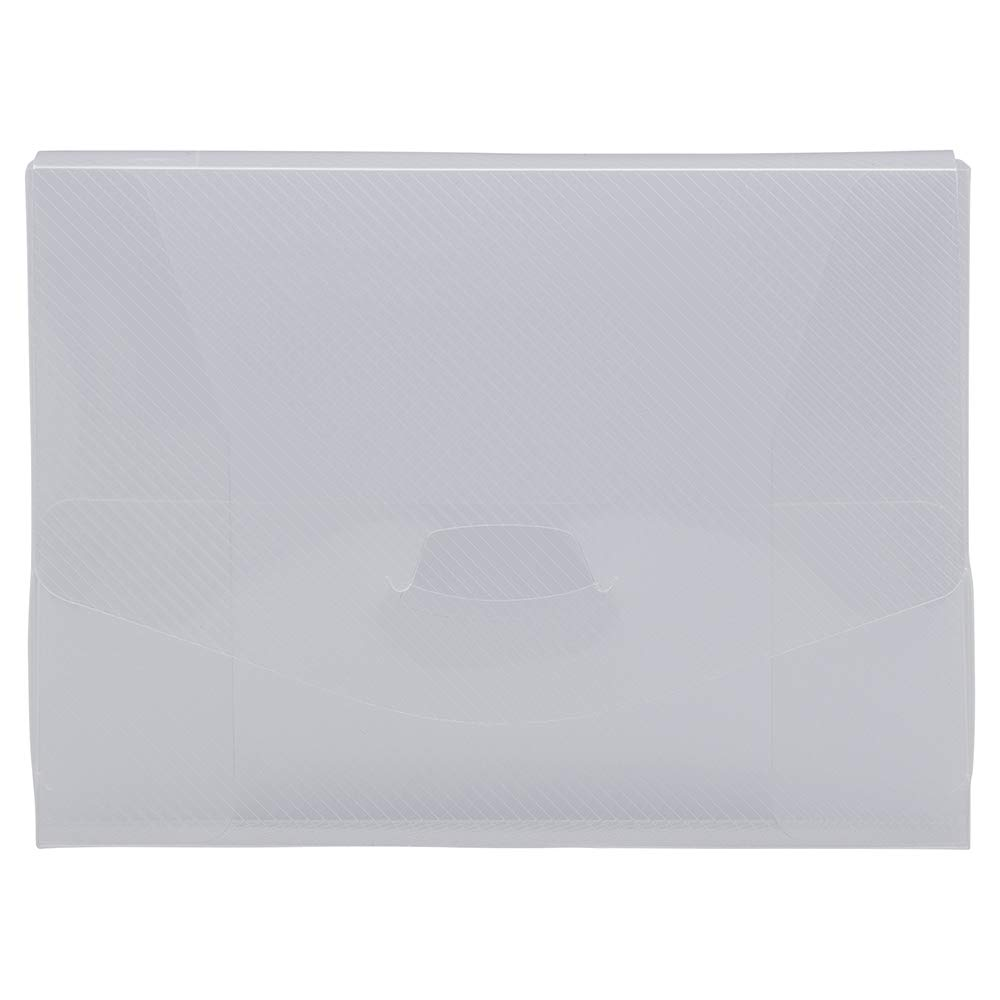 JAM PAPER Plastic Portfolio Envelopes with Tuck Flap Closure - Photo Size - 4 1/2 x 6 1/8 x 7/8 - Clear Grid - Sold Individually