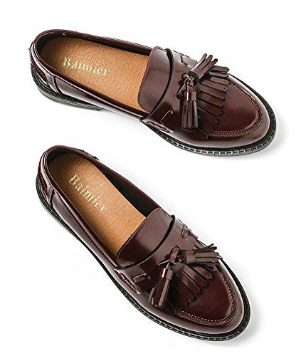 Oxford Skor Kvinnor Låg Klack, Plattforms Damer Skoluniform Dress Shoe Arbete Använda Anti-sladd Vintage London Djupröd
