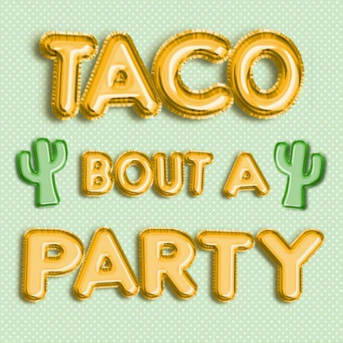 Taco Bout a Party: Mexican Fiesta Theme Green Cactus & Gold Balloons Guest Book - Keepsake Memory Sign in Book for Birthday Party, Graduation, ... Name and Address - Square Size 8.25x8.25