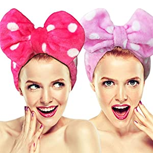 2 Pack Hairizone Makeup Headbands for Washing Face Shower Spa Mask, Soft and Cute Big Bow Hair Bands for Women and Girls (Roseo+Pink)