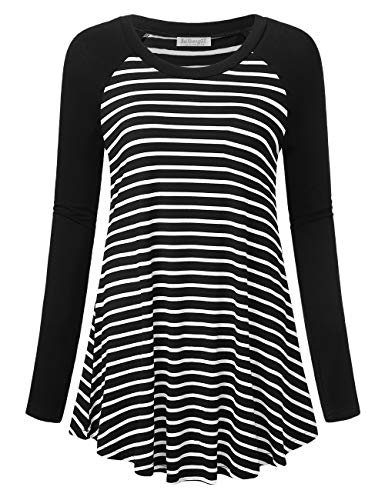 - BaiShengGT Flared Hemline Tunic Tops, Women's Long Sleeve Round Neck Tunics Black Stripe XXL