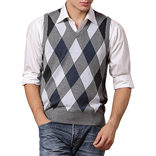 DAVID.ANN Men's Basic Slim Fit Knitted V-Neck Argyle Wool Blend Sweater Vest,Grey/Blue-0827,Medium